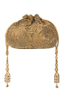 Antique Gold Embroidered Matka Potli by A Clutch Story