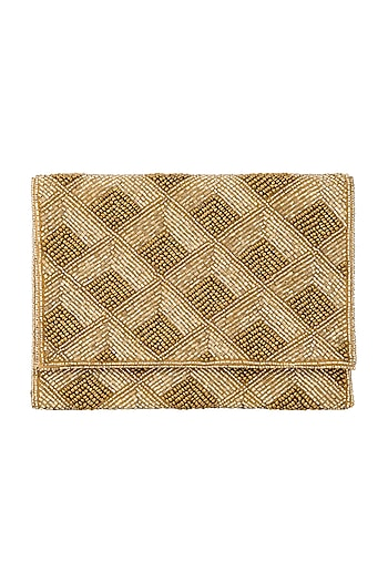 Gold Embroidered Triangle Envelope Clutch  by A Clutch Story