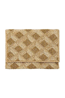 Gold Embroidered Triangle Envelope Clutch  by A Clutch Story-Shop By Style