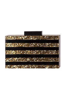 Black Handcrafted Striped Clutch by A Clutch Story