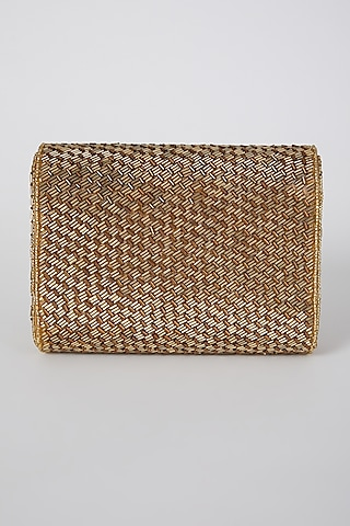 Antique Gold Embroidered Flapover Clutch by A Clutch Story