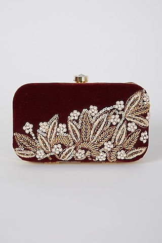 Maroon Hand Embroidered Box Clutch by A Clutch Story