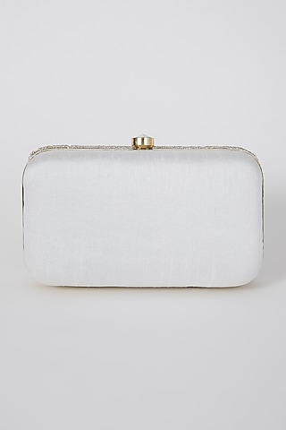 Silver Hand Embroidered Box Clutch by A Clutch Story