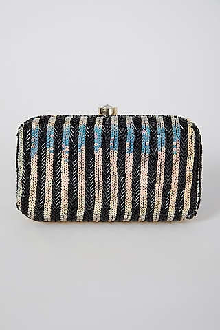 Black Hand Embroidered Box Clutch by A Clutch Story
