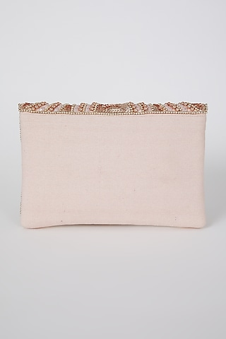 Rose Gold Hand Embroidered Flapover Clutch by A Clutch Story