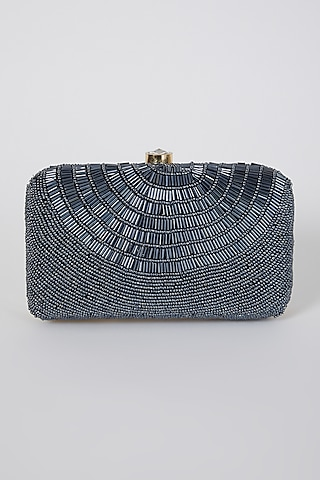 Grey Hand Embroidered Box Clutch by A Clutch Story