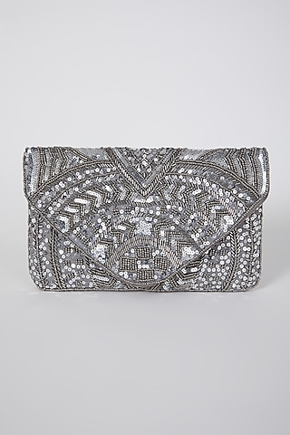 Silver Hand Embroidered Flapover Clutch by A Clutch Story