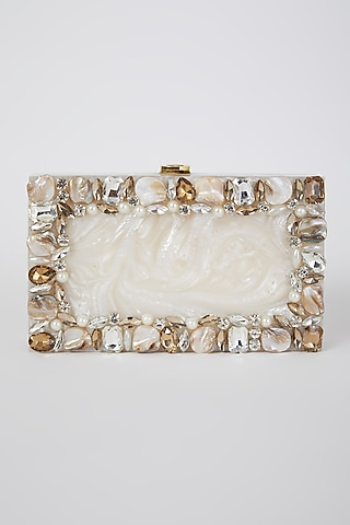 White Glitter Bride Marble Clutch by A Clutch Story