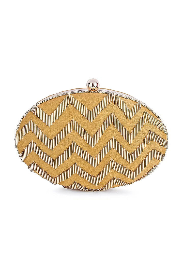 Gold Hand Embroidered Oval Clutch by A Clutch Story