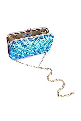 Blue Sequins Hand Embroidered Clutch by A Clutch Story