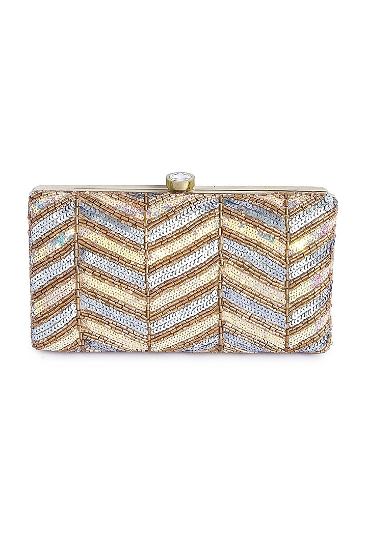 Gold Box Hand Embroidered Clutch by A Clutch Story