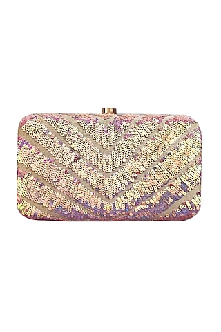 Pink Box Hand Embroidered Clutch by A Clutch Story