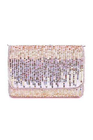 Pink Flapover Hand Embroidered Clutch by A Clutch Story