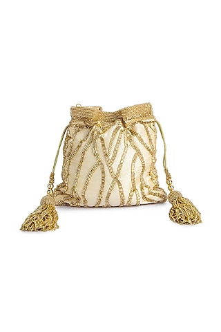 Gold Hand Embroidered Potli by A Clutch Story
