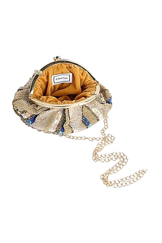 Gold & Blue Hand Embroidered Pouch Clutch by A Clutch Story