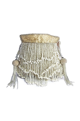 Silver Hand Embroidered Potli by A Clutch Story