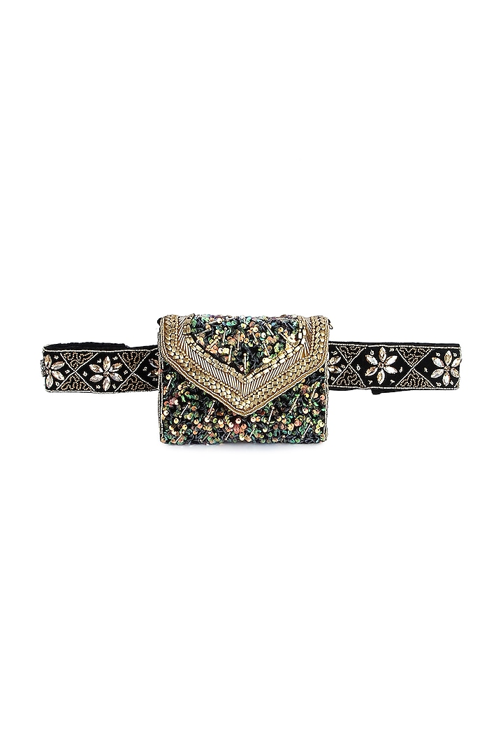 Green Hand Embroidered Belt Clutch by A Clutch Story