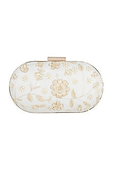 Off White Floral Capsule Clutch by A Clutch Story