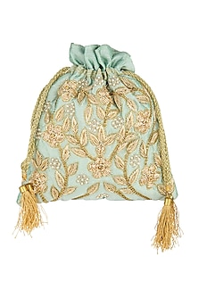 Mint Green Embroidered Potli by A Clutch Story