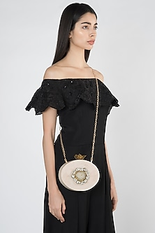 Beige Embellished Oval Clutch by A Clutch Story