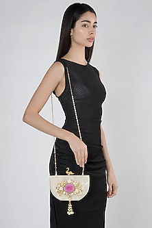 Off White Embellished Clutch by A Clutch Story