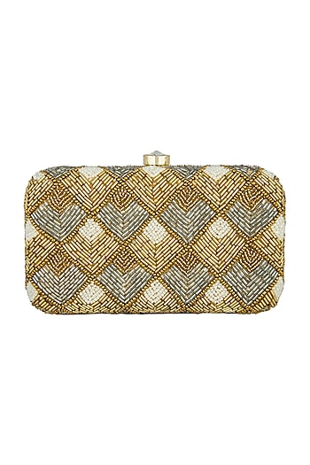 Gold Embellished Box Clutch by A Clutch Story