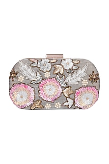 Grey Sequins Round Clutch by A Clutch Story