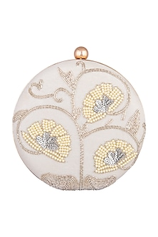 Off White Sequins Round Clutch by A Clutch Story