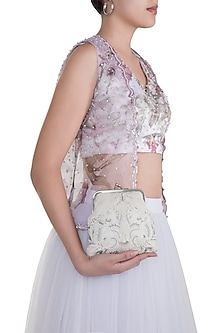 Ivory Embroidered Resham Clutch by Clutch'D