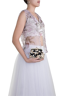 Black Embroidered Velvet Clutch by Clutch'D