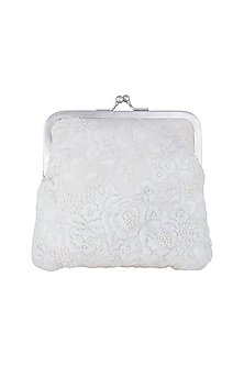 Ivory Embroidered Pearl Clutch by Clutch'D