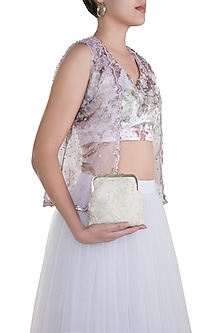 Ivory Embroidered Floral Clutch by Clutch'D