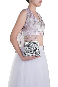 White Embroidered Floral Clutch by Clutch'D