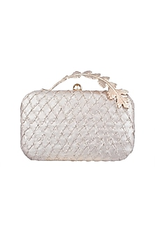 Rose Gold Embroidered Textured Clutch by Clutch'D