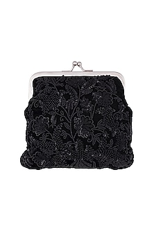 Black Embroidered Sequins Clutch by Clutch'D