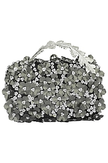 Black and Silver Sequins Flower Box Clutch by Clutch'D