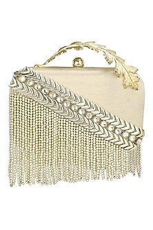 Matt Gold Metal Chain and Beads Box Clutch by Clutch'D