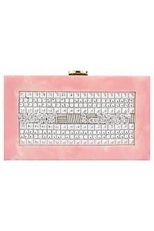 Bubblegum Pink Metal Flowers Box Clutch by Clutch'D