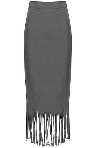 Grey Fringes Pencil Fitted Midi Skirt by Closet Drama