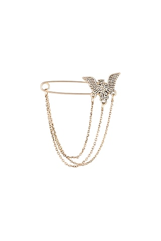 Gold Finish Eagle Coat Pin With Chain by Closet Code