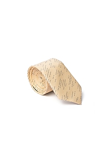Pale Yellow Printed Tie by Closet Code