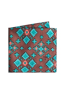 Brown Geometric Printed Pocket Square by Closet Code