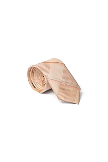 Orange Checkered Printed Tie by Closet Code