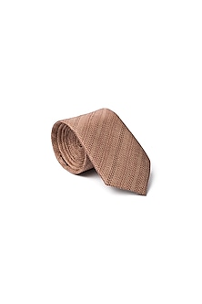 Brown Silk Printed Tie by Closet Code