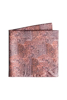 Brown Printed Pocket Square by Closet Code