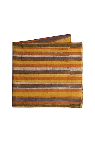 Mustard Yellow Striped Pocket Square by Closet Code