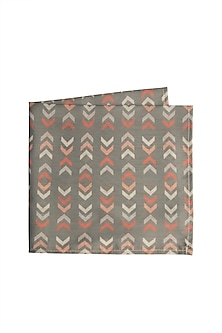 Grey Cotton Printed Pocket Square by Closet Code
