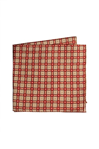 Red Printed Pocket Square by Closet Code