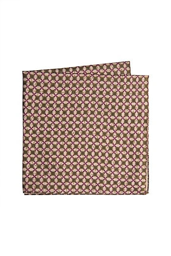 Purple & Green Printed Pocket Square by Closet Code