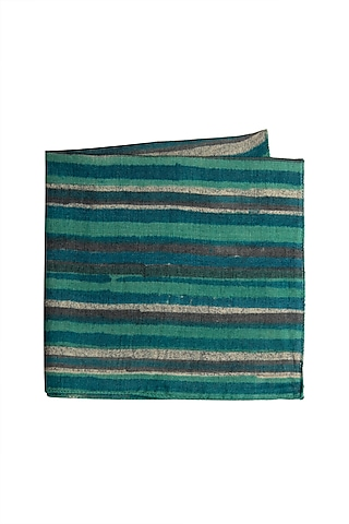 Green Striped Pocket Square by Closet Code